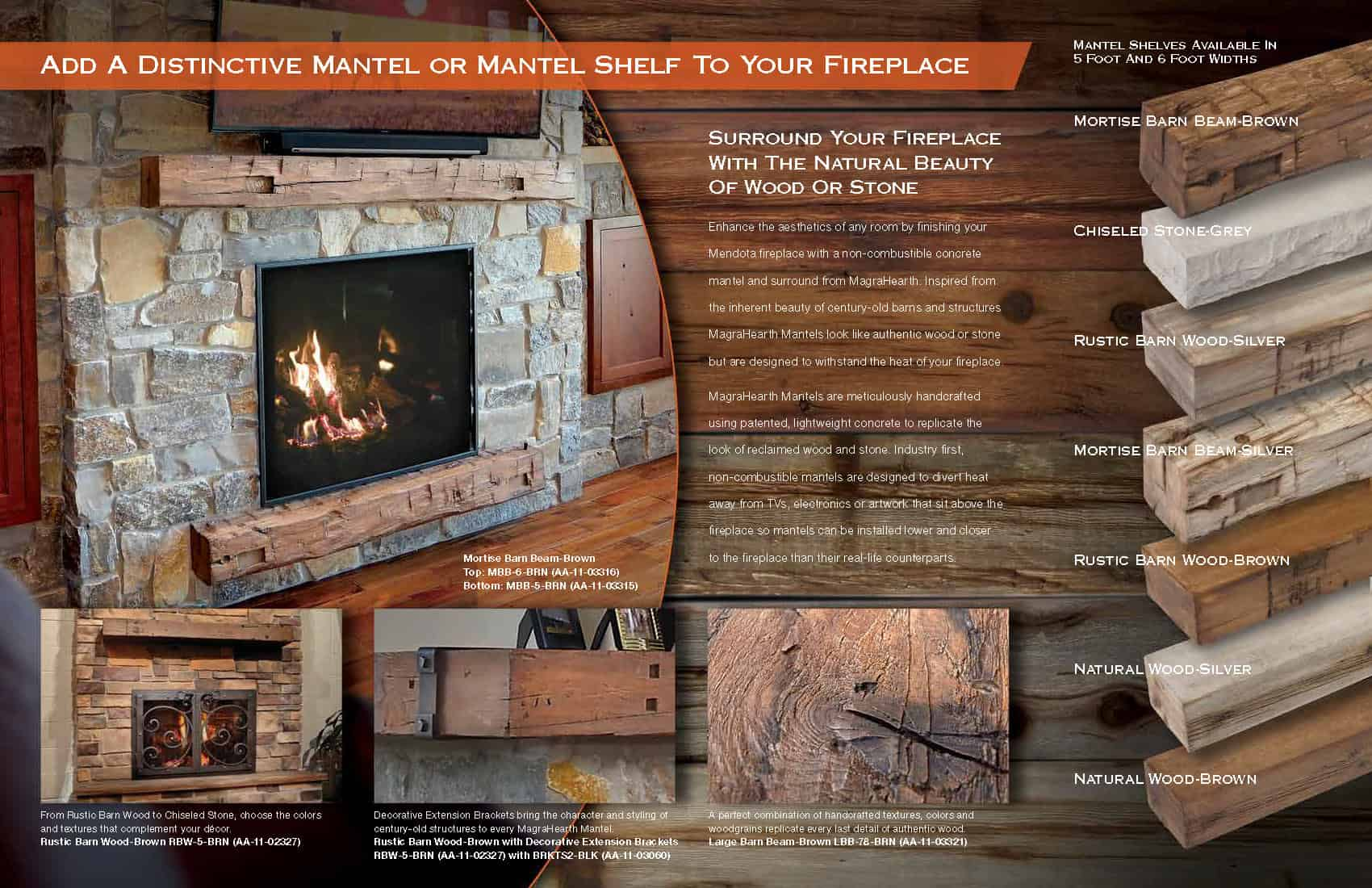 Magra Hearth Wood Mantel Non-Combustible Material 2