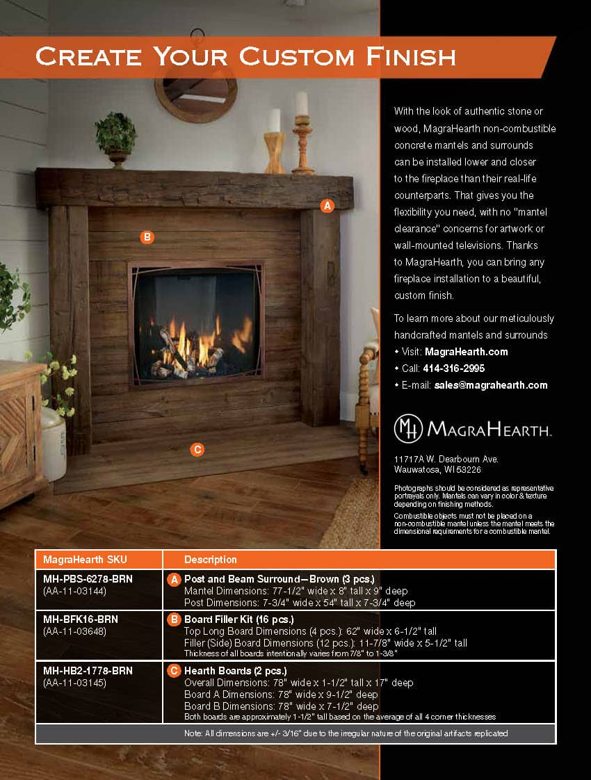 Magra Hearth Wood Mantel Non-Combustible Material 1