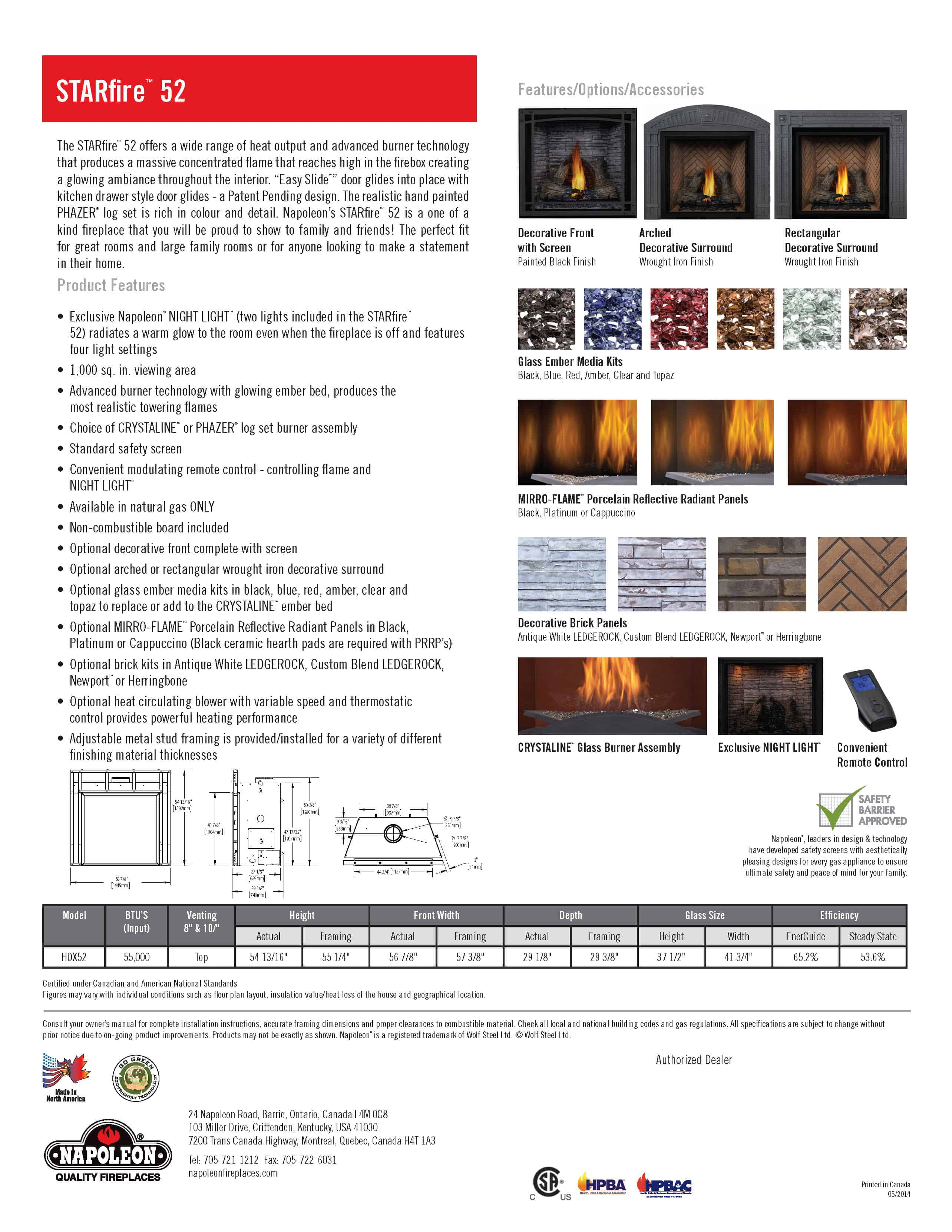Biggest Gas Direct Vent Fireplace - STARfire™ 52 by Napoleon HDX52 2