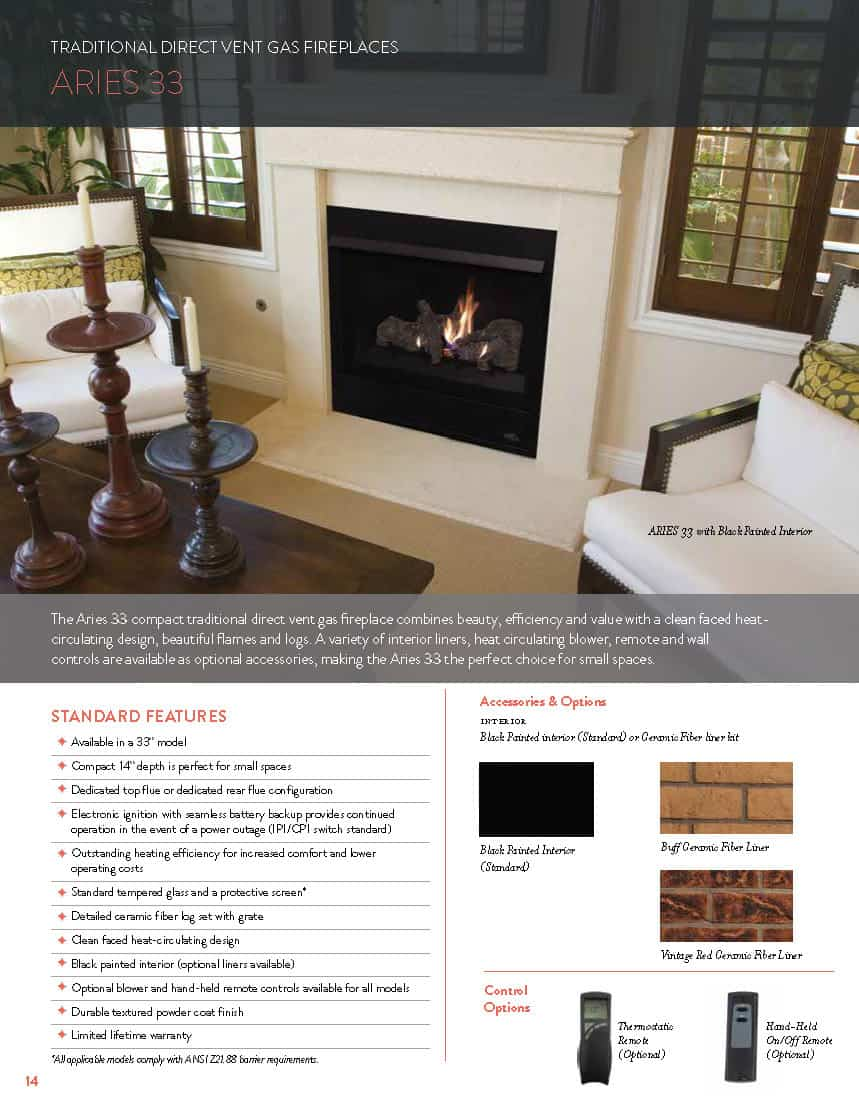 Aries 33 Direct-Vent Gas Fireplace - Traditional Front Open