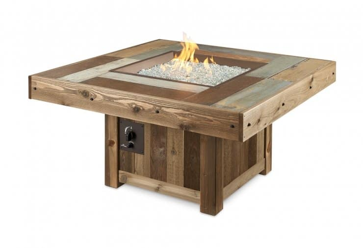 Vintage Square Gas Fire Pit Table 1