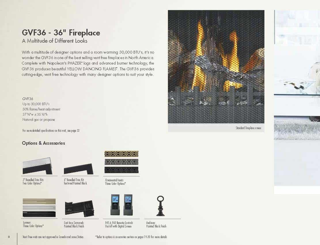 Grandville VF36 - Vent Free Gas Fireplace 1